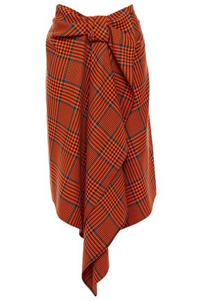 HOUSE OF HOLLAND Draped Prince of Wales checked wool-blend skirt