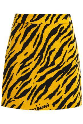 LOVE MOSCHINO Zebra-print wool-blend mini skirt