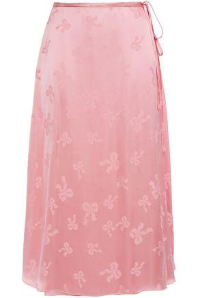 ALEXACHUNG Tie-front satin-jacquard midi wrap skirt