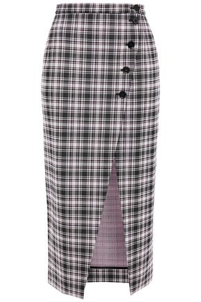 ALEXACHUNG Asymmetric checked jacquard midi skirt