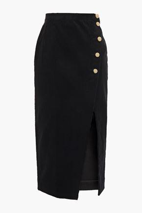 ALEXACHUNG Asymmetric cotton-blend corduroy midi skirt