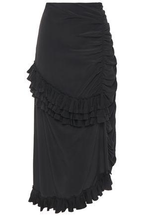 MARNI تنورة متوسطة الطول من قماش كريب دي شين مع كشكش