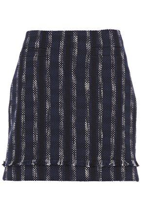 CLAUDIE PIERLOT Fringed striped cotton-blend tweed mini skirt