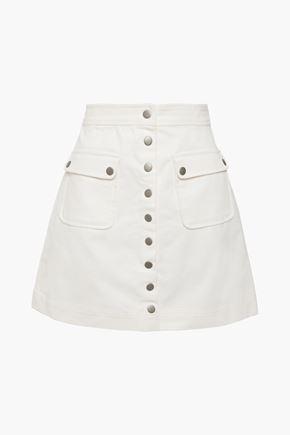 ALEXACHUNG تنورة قصيرة من قماش كوردروي القطني مع أزرار كبس