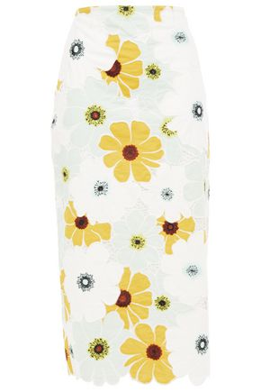 KATE SPADE New York Scalloped embroidered floral-print cotton-mousseline midi skirt