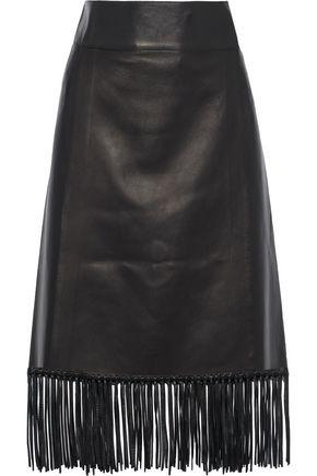 VALENTINO フリンジ付き レザー ミディラップスカート