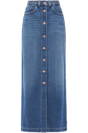 7 FOR ALL MANKIND Braid-trimmed denim maxi skirt