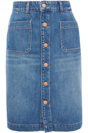 7 FOR ALL MANKIND Button-detailed faded denim mini skirt