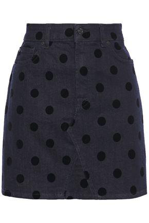 7 FOR ALL MANKIND Polka-dot flocked denim mini skirt