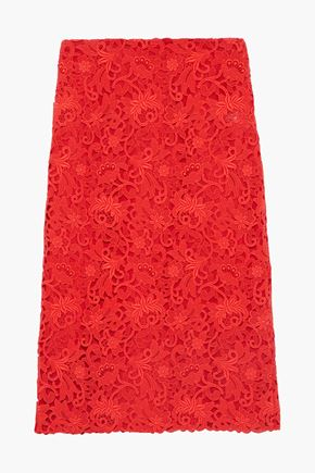 VALENTINO Cotton-blend guipure lace pencil skirt