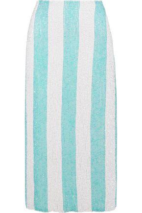 RETROFÊTE Sequined striped chiffon midi pencil skirt