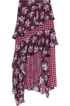AMUR Bethany asymmetric ruffled printed silk-chiffon midi skirt