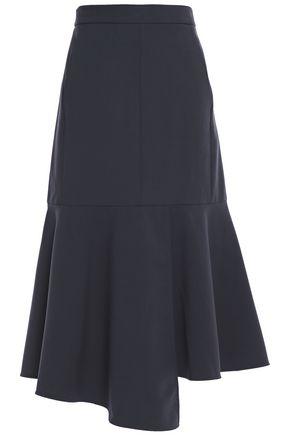 TIBI Asymmetric flared crepe midi skirt