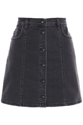 McQ Alexander McQueen Distressed button-detailed denim mini skirt