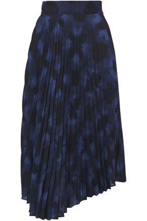 VINCE. Asymmetric pleated printed crepe midi skirt