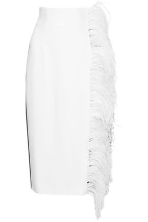 16ARLINGTON Feather-embellished two-tone cady midi pencil skirt