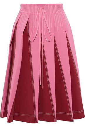 VALENTINO Pleated two-tone ponte skirt
