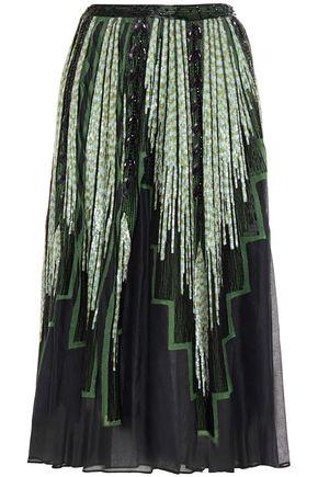 VALENTINO 装飾付き チュールトリム コットンガーゼ ミディスカート