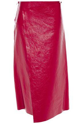 VALENTINO تنورة متوسطة الطول وبتصميم ملتفّ من الجلد النافر