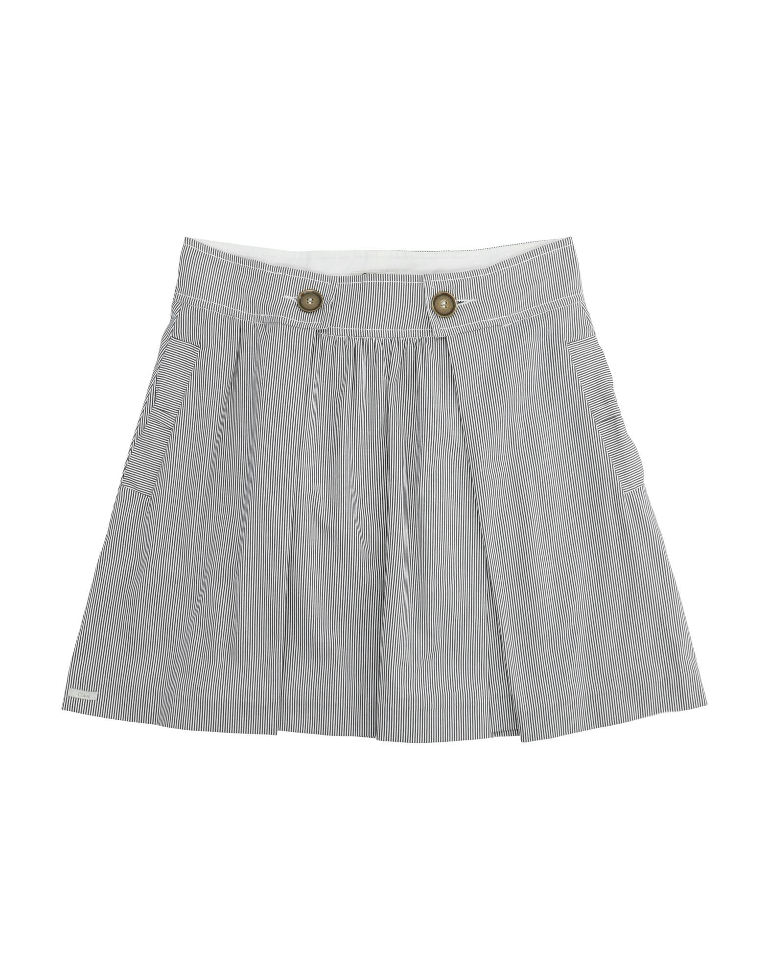 CHLOÉ Skirts. plain weave, logo, folds, stripes, multipockets, front closure, snap-buttons, zip, unlined, wash at 30degree c, dry cleanable, iron at 110degree c max, do not bleach, do not tumble dry, stretch, large sized. 96% Cotton, 4% Elastane