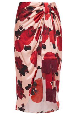 MOTHER OF PEARL Emma draped embellished floral-print satin skirt'