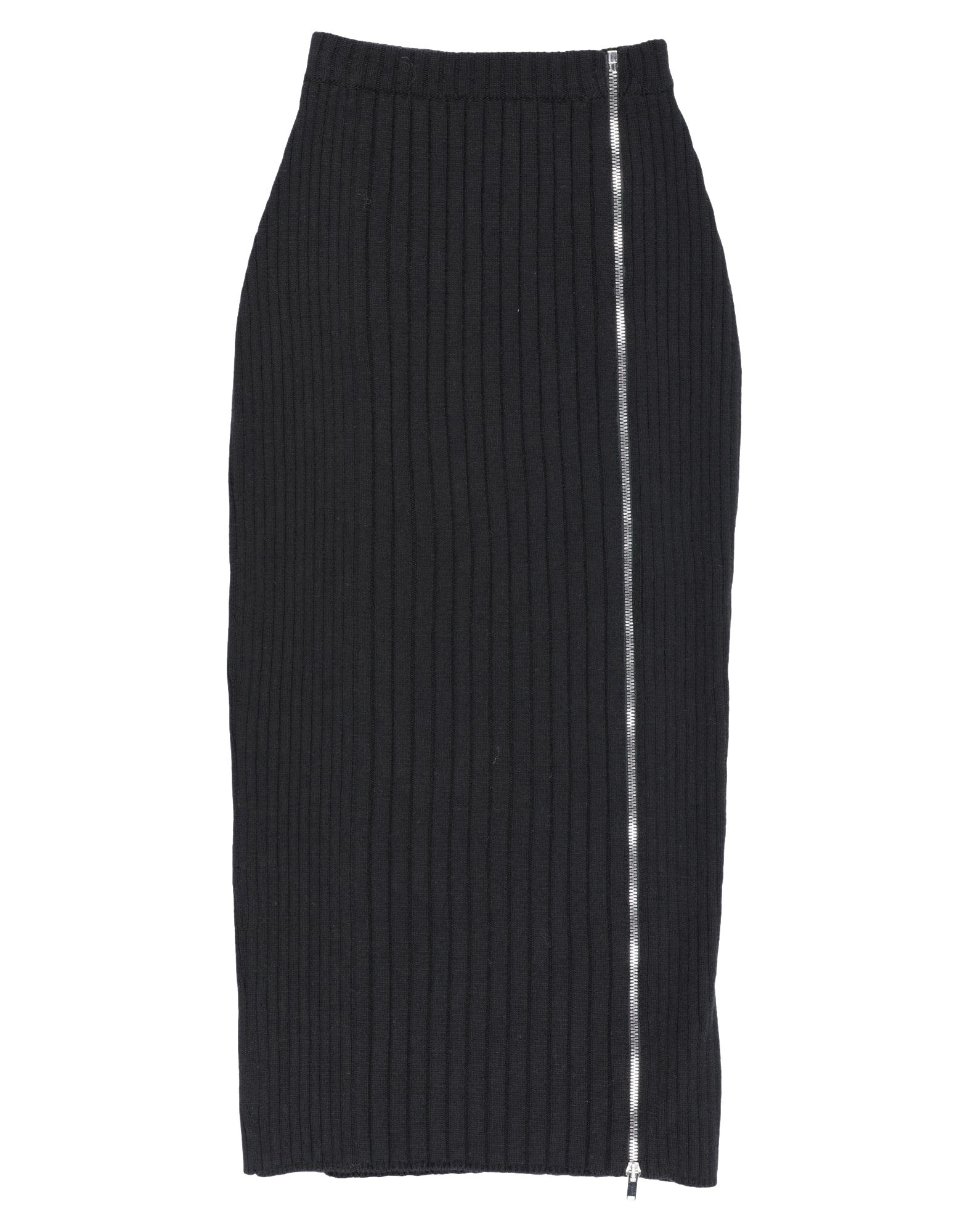 PALM ANGELS 3/4 length skirts. knitted, no appliqués, ribbed, basic solid color, no pockets, front closure, zipper closure, unlined. 70% Wool, 30% Polyamide