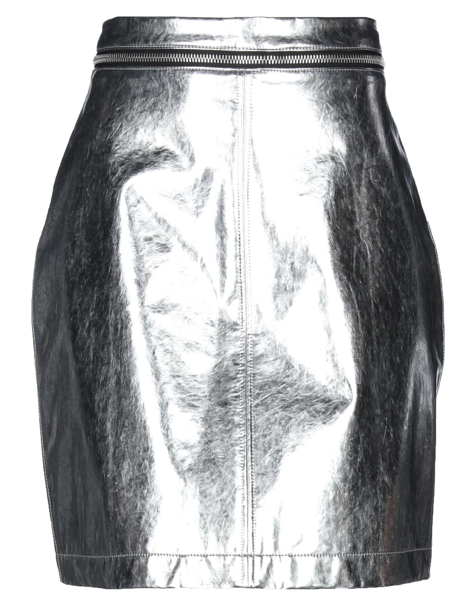 PHILOSOPHY di LORENZO SERAFINI Knee length skirts. no appliqués, solid color, laminated effect, no pockets, front closure, zipper closure, jersey, unlined. 100% Polyurethane