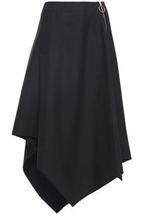 CEDRIC CHARLIER Asymmetric zip-detailed wool-twill midi skirt