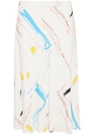 CEDRIC CHARLIER Asymmetric printed crepe midi skirt