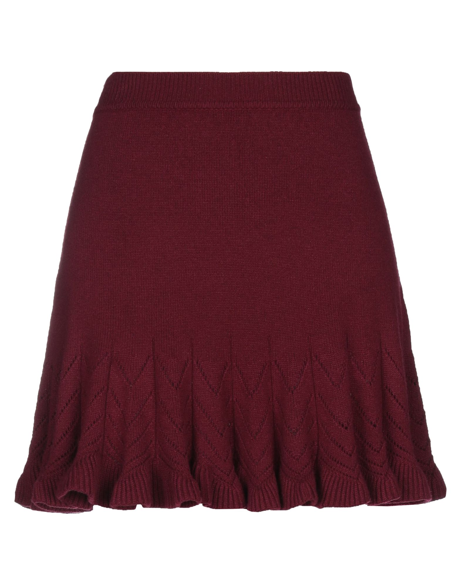 ALEXANDER MCQUEEN Mini skirts. knitted, no appliqués, basic solid color, no pockets, elasticized waist, no fastening, unlined. 55% Wool, 30% Cashmere, 15% Silk