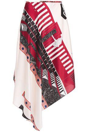 CEDRIC CHARLIER Asymmetric printed satin-twill midi skirt