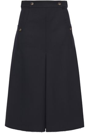 CEDRIC CHARLIER Pleated wool-twill skirt