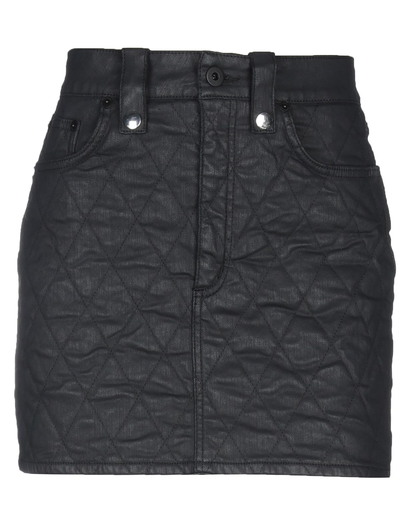 DONDUP Mini skirts. twill, coated effect, logo, solid color, multipockets, unlined, stretch. 69% Cotton, 29% Polyamide, 2% Elastane