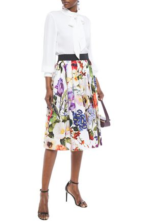 Dolce & Gabbana Gathered Floral-print Cotton-poplin Skirt In White