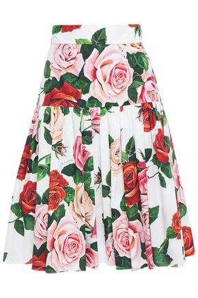 DOLCE & GABBANA Gathered floral-print cotton-poplin skirt
