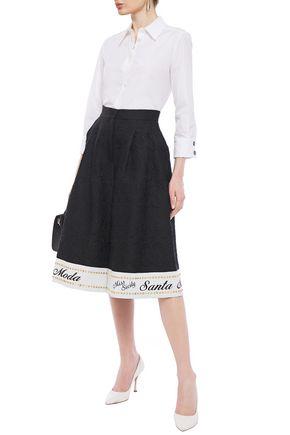 Dolce & Gabbana Embellished Cotton-blend Jacquard Culottes In Black