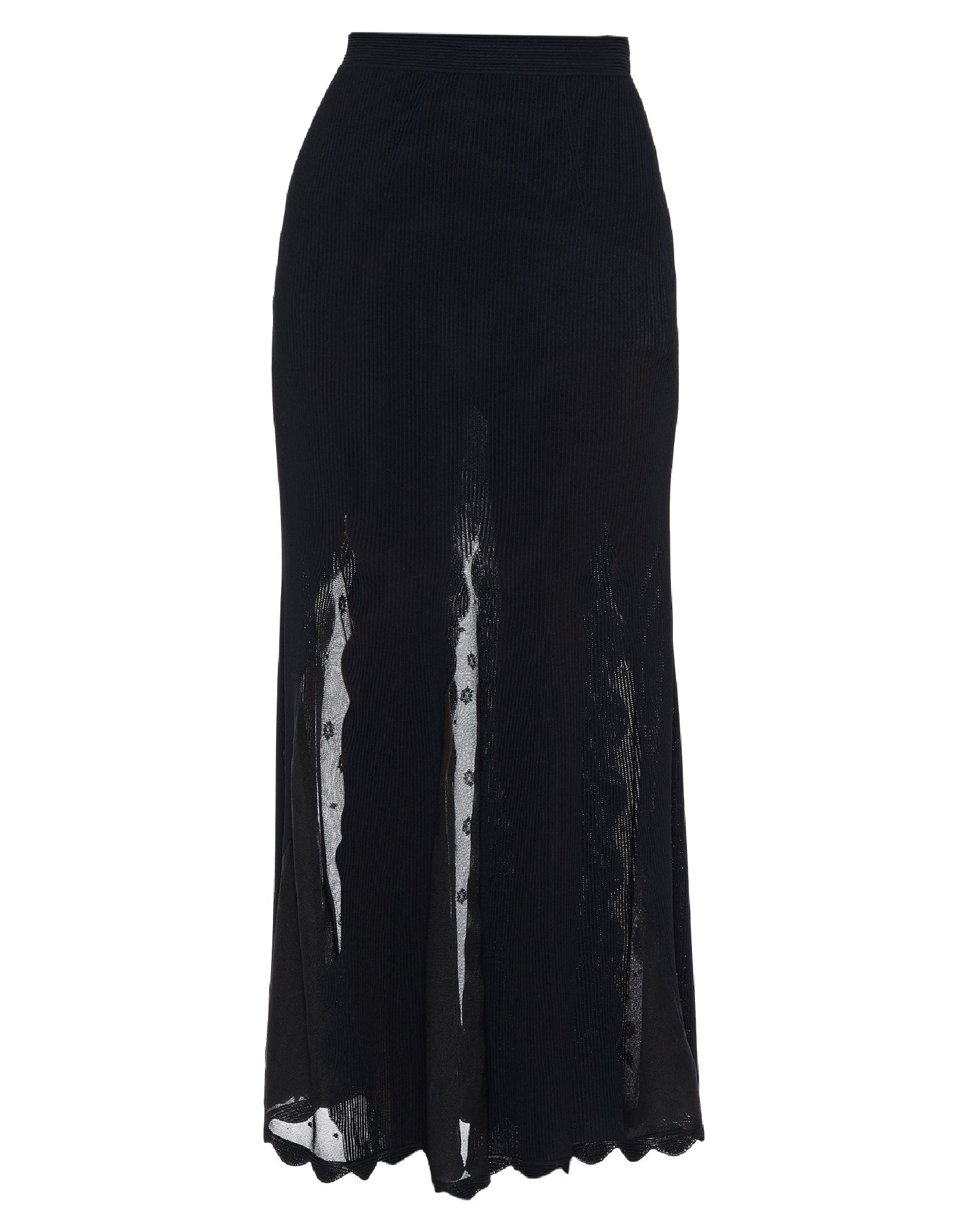ALEXANDER MCQUEEN Long skirts. knitted, no appliqués, basic solid color, semi-lined, side closure, no pockets. 87% Viscose, 8% Silk, 5% Polyester