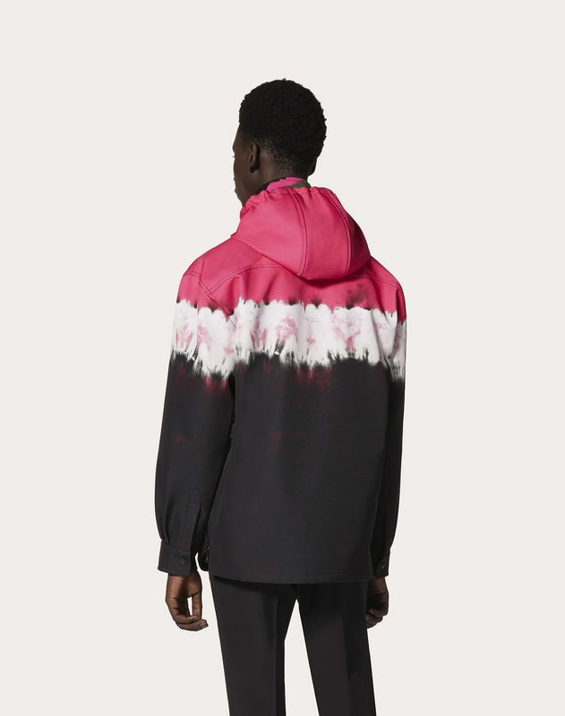 HOODED PEACOAT WITH JELLY BLOCK PRINT