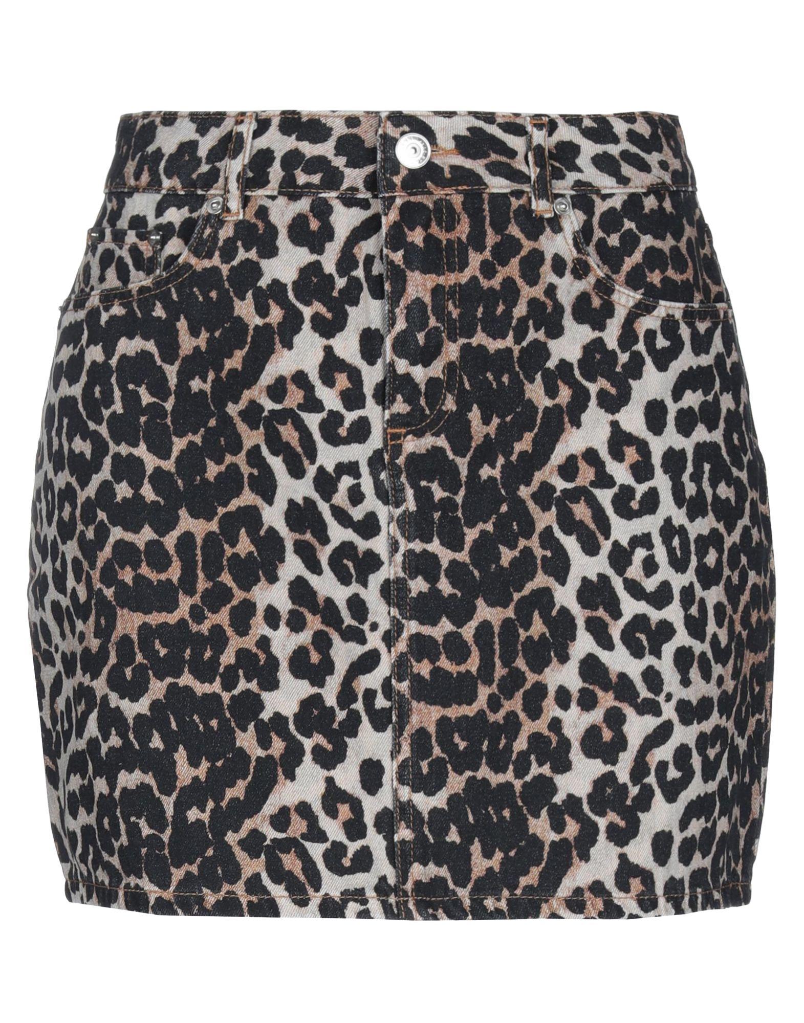 GANNI Denim skirts. denim, logo, leopard-print, colored wash, front closure, button, zip, multipockets, unlined. 100% Cotton