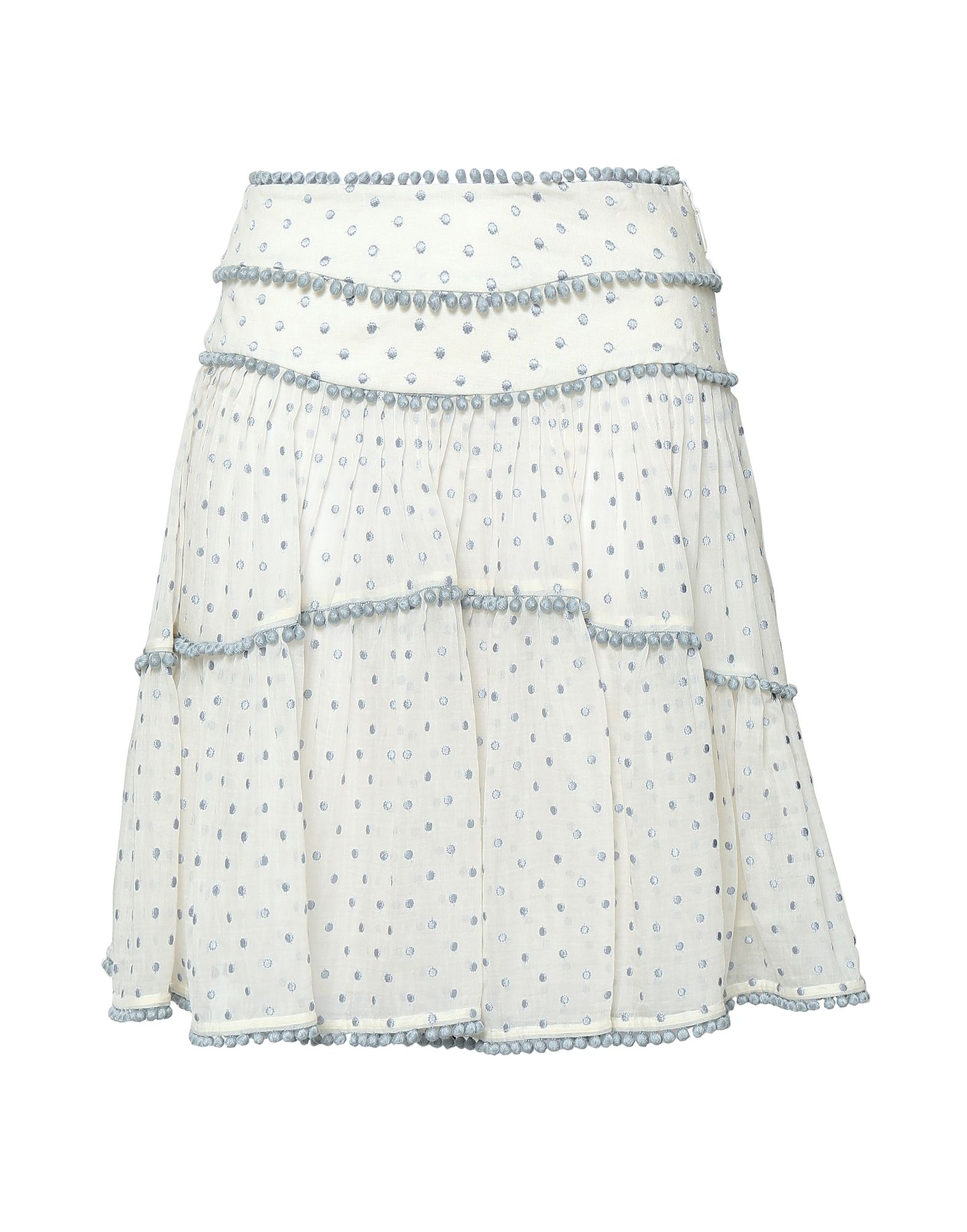 ZIMMERMANN Knee length skirts. plain weave, voile, embroidered detailing, contrasting applications, polka-dot, no pockets, rear closure, hook-and-bar, zip, fully lined. 65% Cotton, 35% Silk, Linen