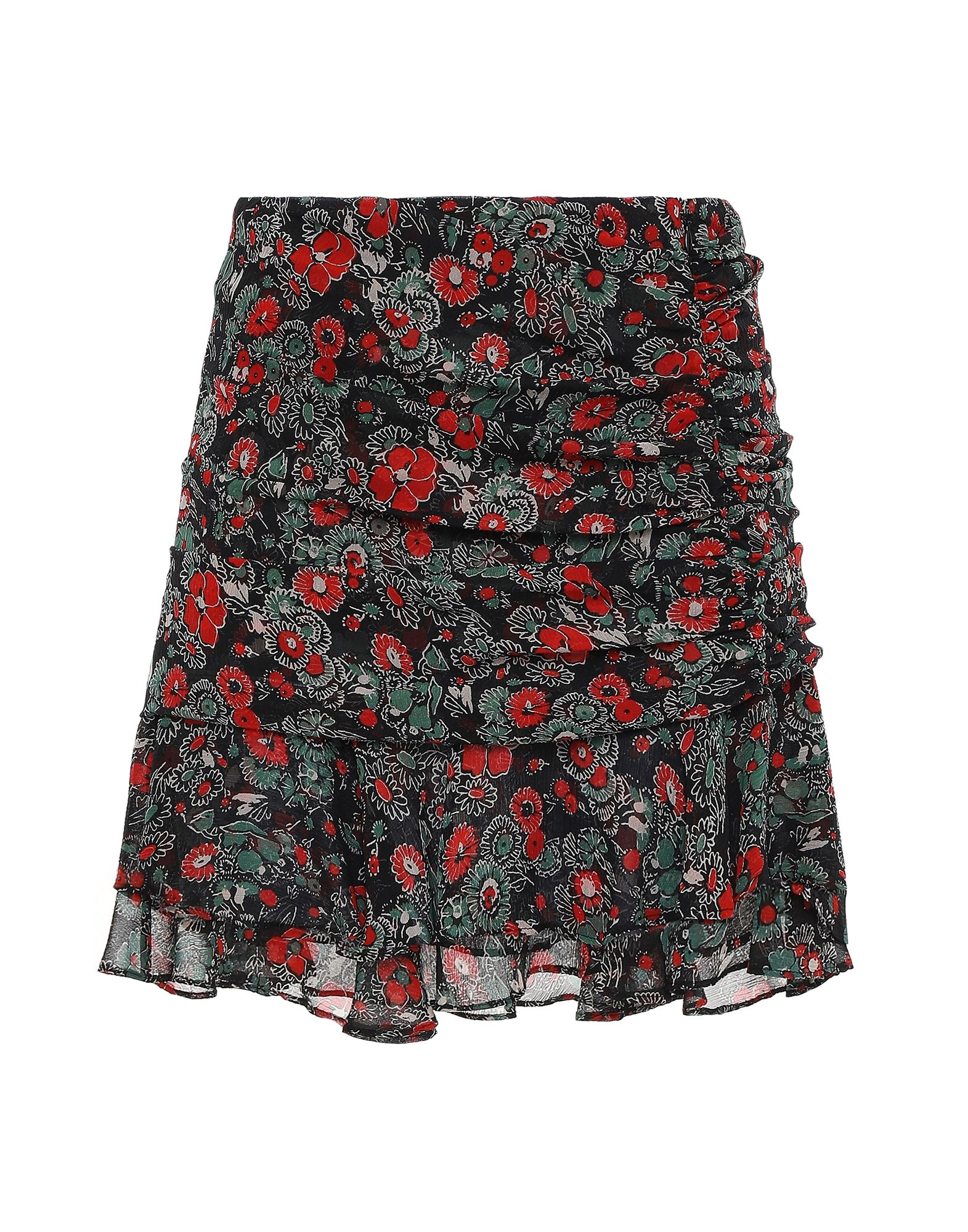 VERONICA BEARD Mini skirts. crepe, frills, floral design, no pockets, hook-and-bar, zip, unlined. 100% Silk