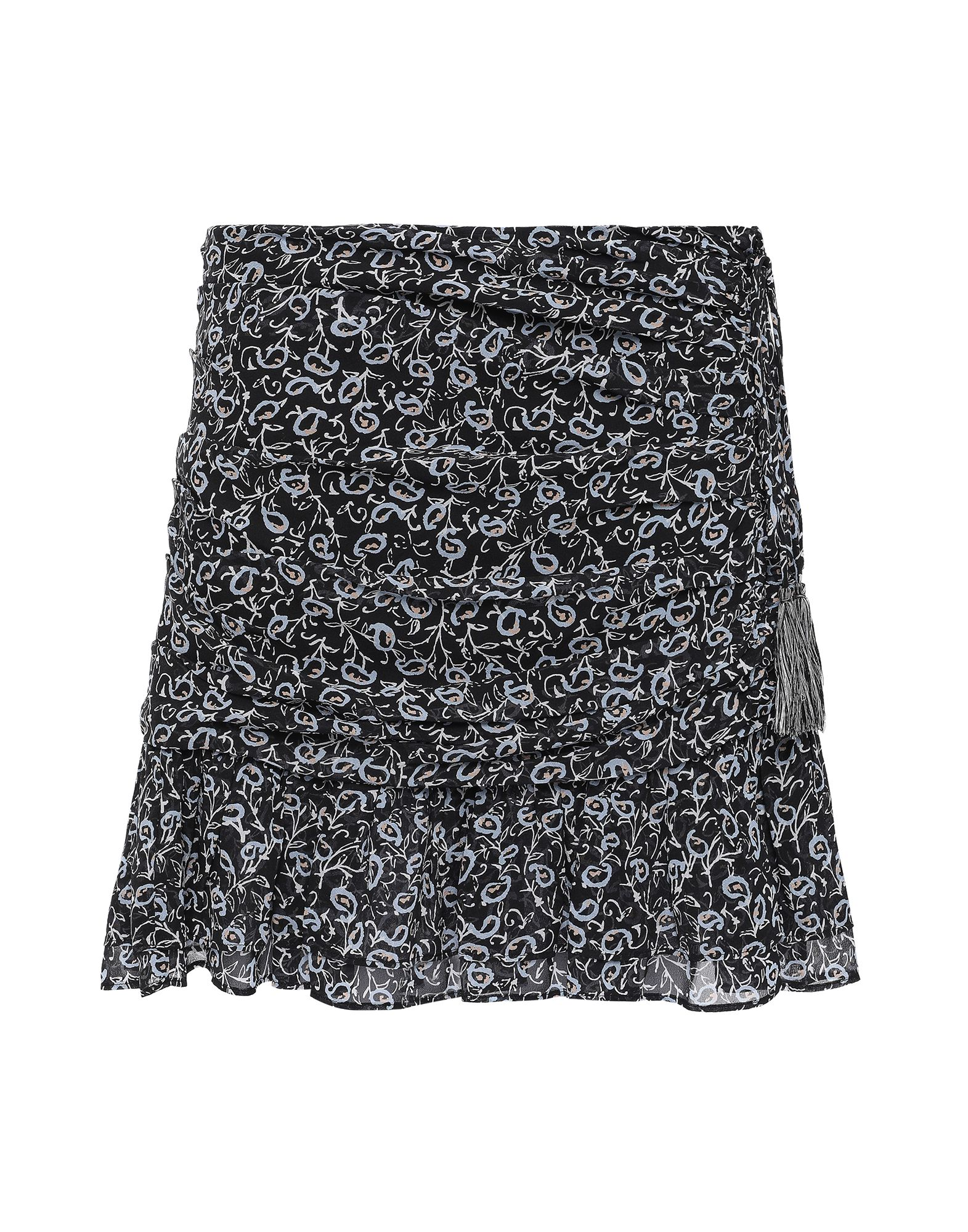 VERONICA BEARD Mini skirts. crepe, tassels, frills, floral design, side closure, hook-and-bar, zip, fully lined. 100% Silk