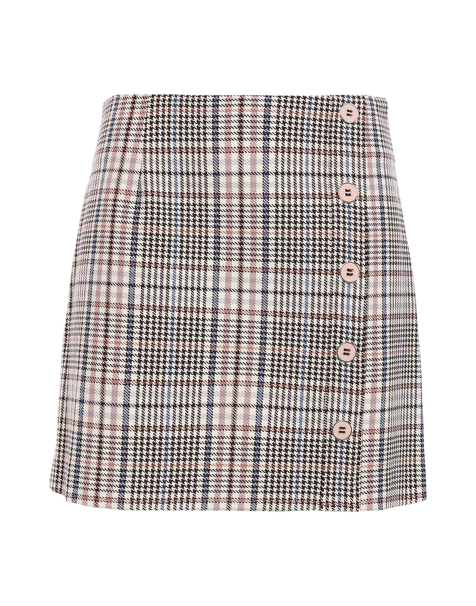 VERONICA BEARD Mini skirts. plain weave, contrasting applications, glen plaid, rear closure, zipper closure, unlined, stretch. 98% Cotton, 2% Elastane