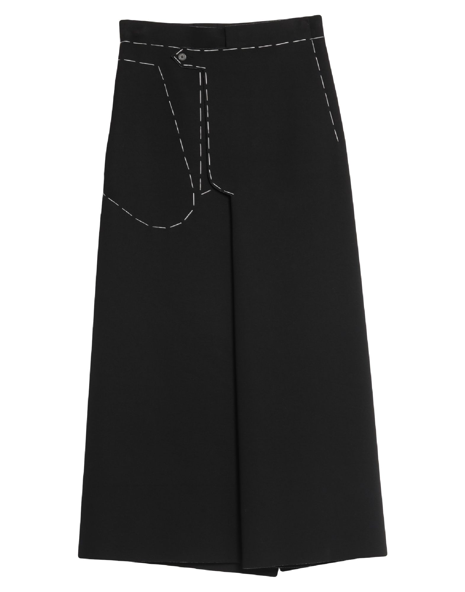 MAISON MARGIELA Long skirts. neoprene, stitching, basic solid color, mid rise, no pockets, front closure, button closing, unlined, rear slit. 100% Viscose, Polyurethane