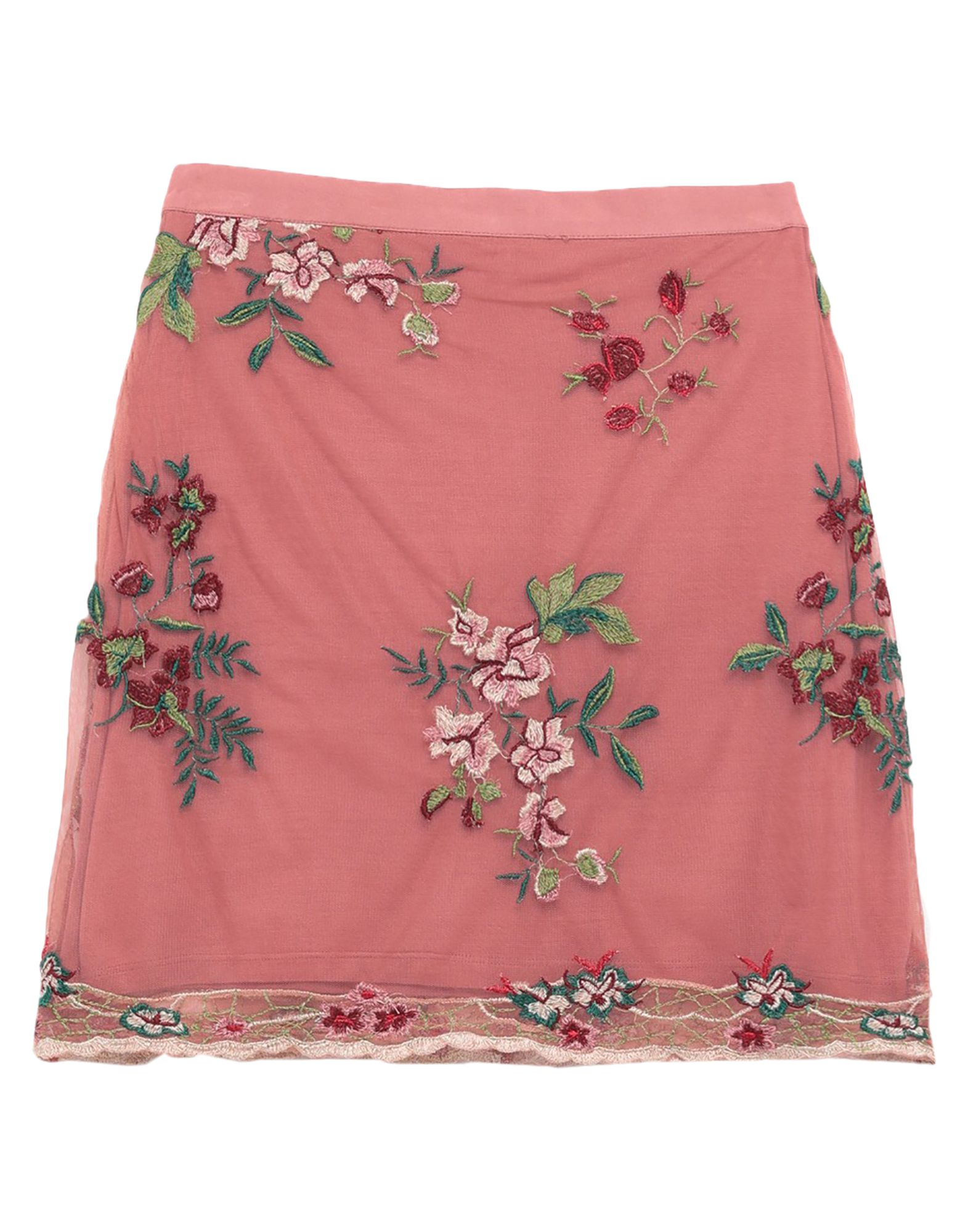BAND OF GYPSIES Mini skirts. tulle, embroidered detailing, solid color, no pockets, rear closure, zipper closure, fully lined. 100% Polyester