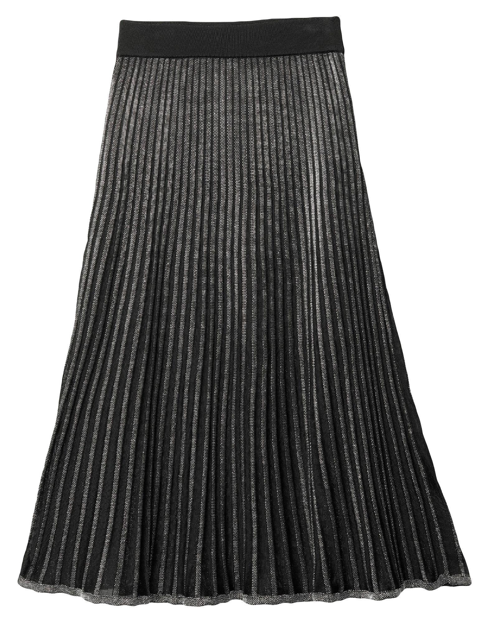 BALMAIN 3/4 length skirts. knitted, lamé, no appliqués, two-tone, no pockets, side closure, zipper closure, fully lined. 82% Viscose, 8% Metallic fiber, 6% Cotton, 2% Polyester, 2% Polyamide