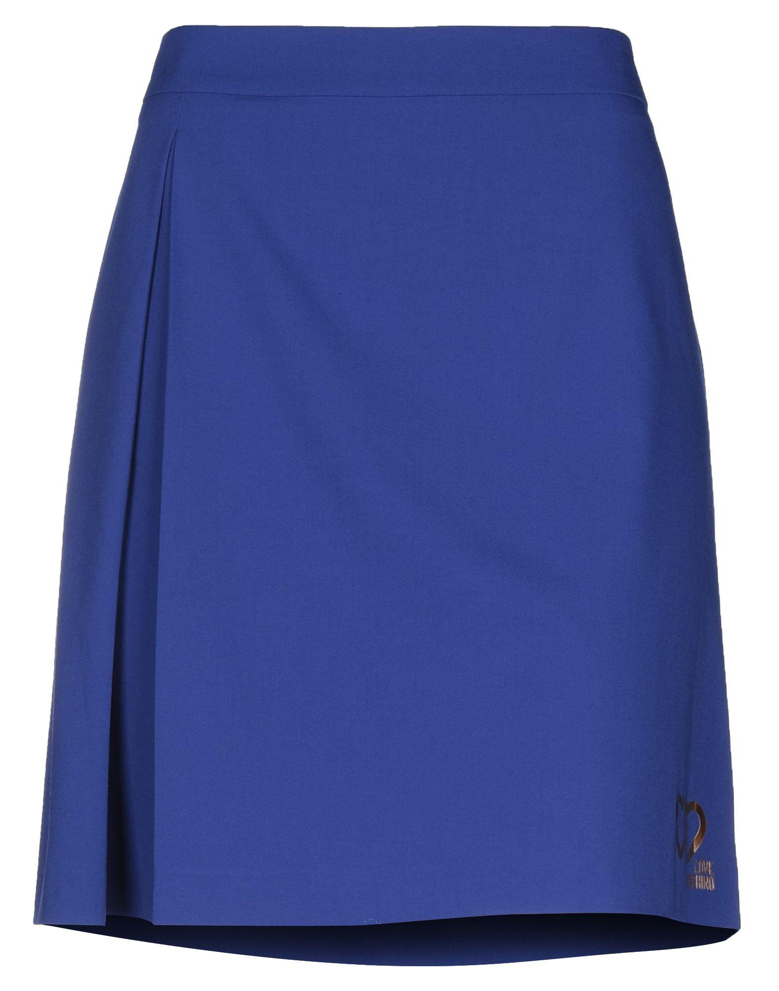 《セール開催中》LOVE MOSCHINO レディース ひざ丈スカート ブルー 40 ポリエステル 66% / レーヨン 28% / ポリウレタン 6%