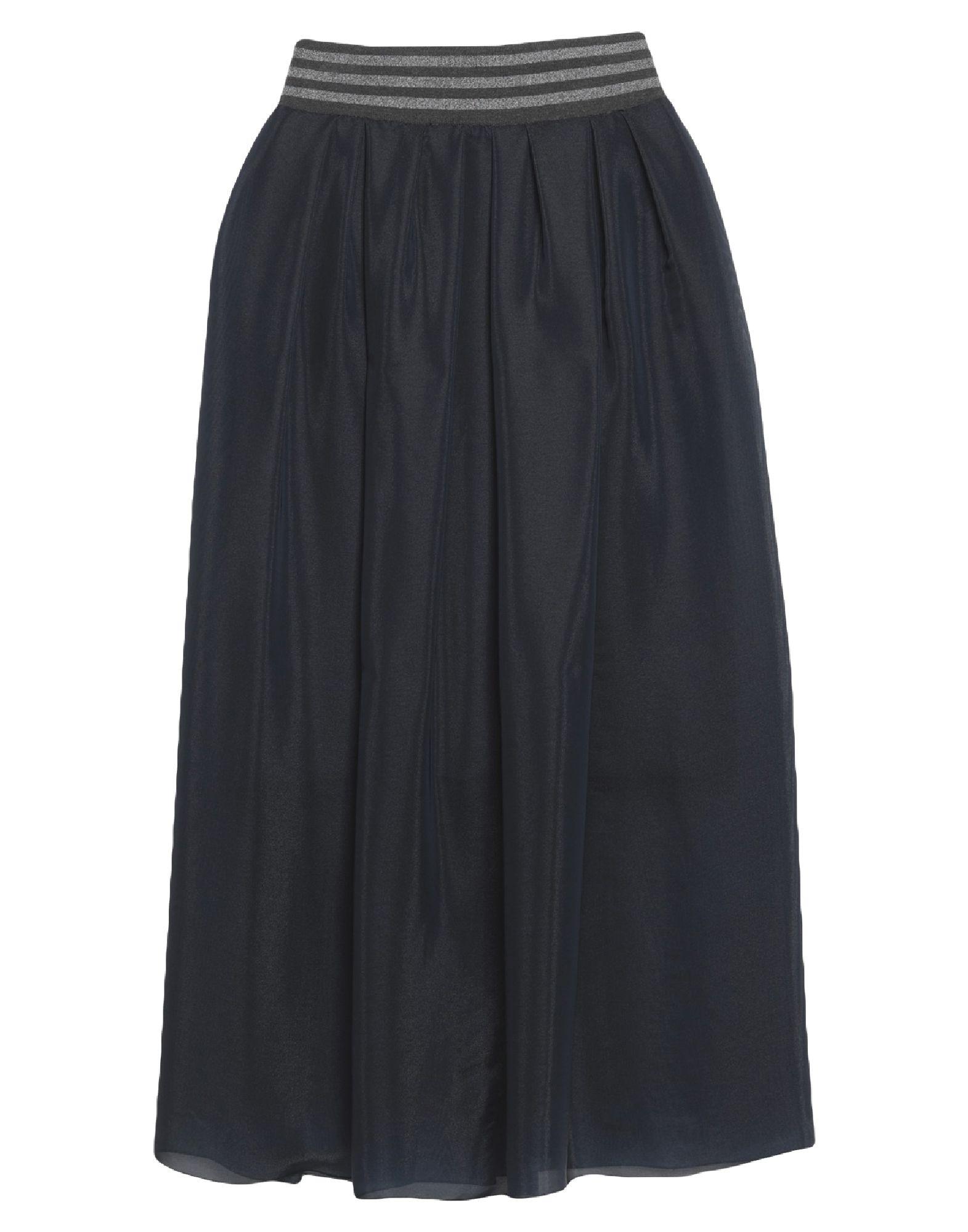 ELEVENTY Long skirts. knitted, organza, lamé, folds, solid color, elasticized waist, no pockets, rear closure, zipper closure, semi-lined, stretch. 84% Viscose, 9% Elastane, 7% Polyamide, Silk