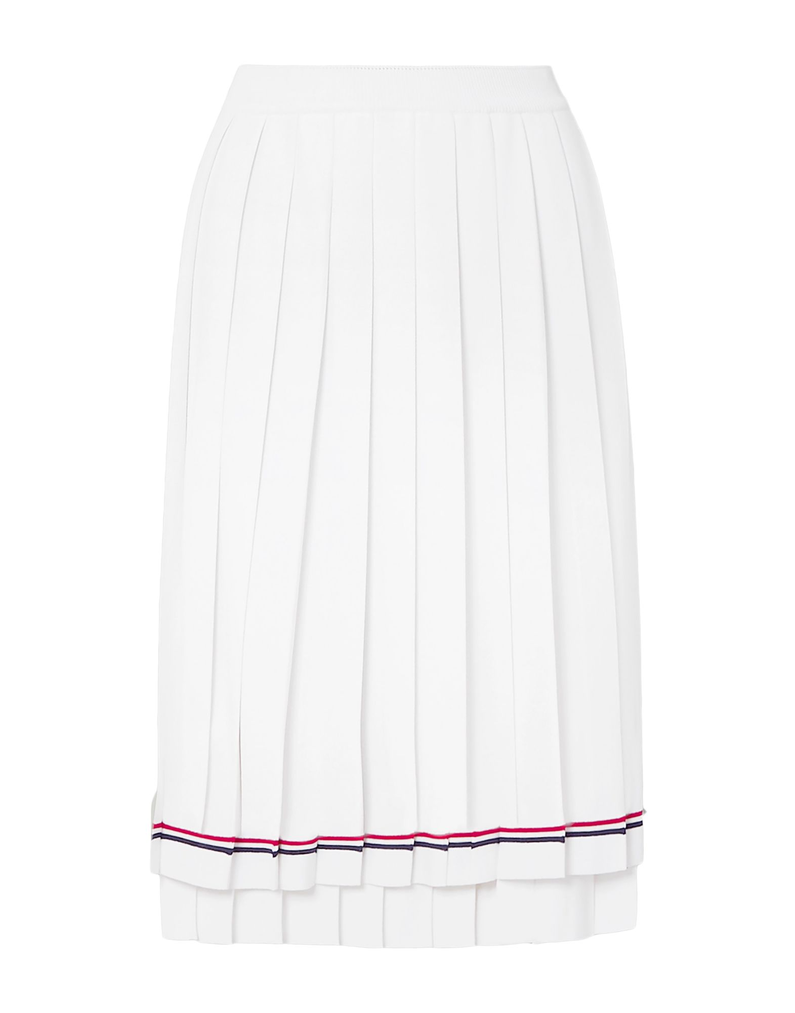 THOM BROWNE Knee length skirts. knitted, no appliqués, solid color, no pockets, no fastening, unlined. 59% Viscose, 41% Polyester