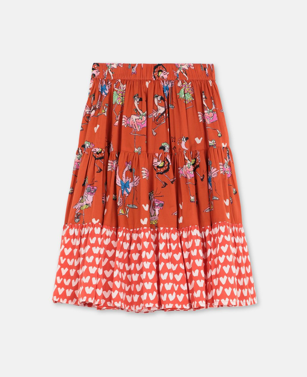 Stella Mccartney STELLA MCCARTNEY KIDS FLAMINGO PARTY COTTON SKIRT